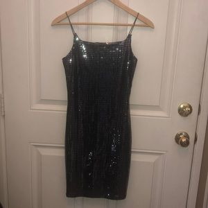 Black and silver Sequin cocktail dress